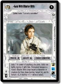 star wars ccg enhanced leia with blaster rifle