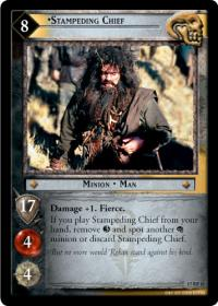 lotr tcg rise of saruman stampeding chief foil