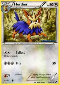 pokemon black and white base set herdier 82 114