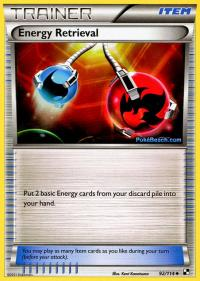 pokemon black and white base set energy retrieval 92 114