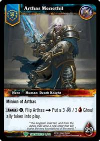 warcraft tcg foil hero cards arthas menethil foil hero