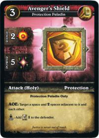 wow minis core action cards avenger s shield