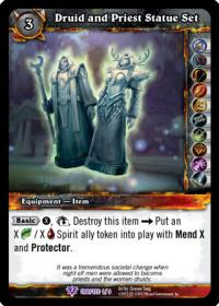 warcraft tcg crafted cards druid and priest statue set