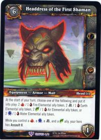 warcraft tcg crafted cards headdress of the first shaman