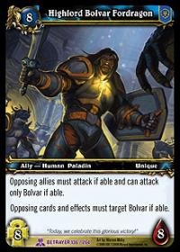 warcraft tcg servants of betrayer highlord bolvar fordragon betrayer card