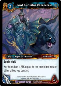 warcraft tcg war of the ancients lord kur talos ravencrest