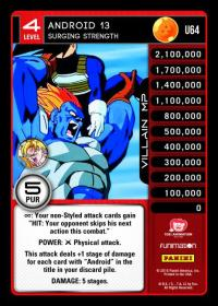 dragonball z vengeance android 13 surging strength foil