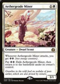 magic the gathering aether revolt aethergeode miner foil