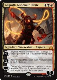 magic the gathering rivals of ixalan angrath minotaur pirate foil 201 196