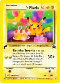pokemon 1wizards of the coast promos birthday pikachu 24 pokemon world collection tail stamp