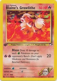 pokemon gym heroes 1st edition blaine s growlithe 62 132 1st edition