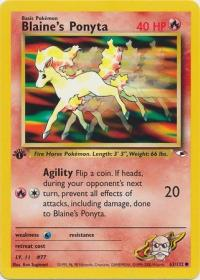 pokemon gym heroes 1st edition blaine s ponyta 63 132 1st edition