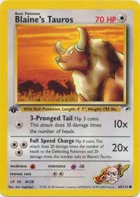 pokemon gym heroes 1st edition blaine s tauros 64 132 1st edition