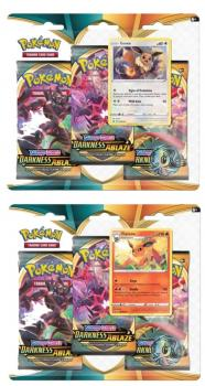 pokemon pokemon boxes and packs pokemon sword shield darkness ablaze 3 pack blister eevee flareon
