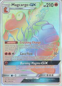pokemon sm lost thunder magcargo gx 218 214 rainbow