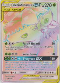 pokemon sm team up celebi venusaur gx 182 181 rainbow