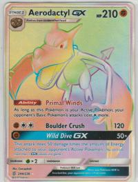 pokemon sm unified minds aerodactyl gx 244 236 rainbow rare