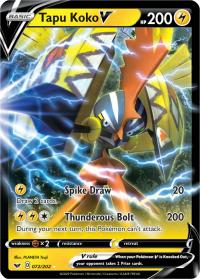 pokemon ss sword shield base set tapu koko v 072 202